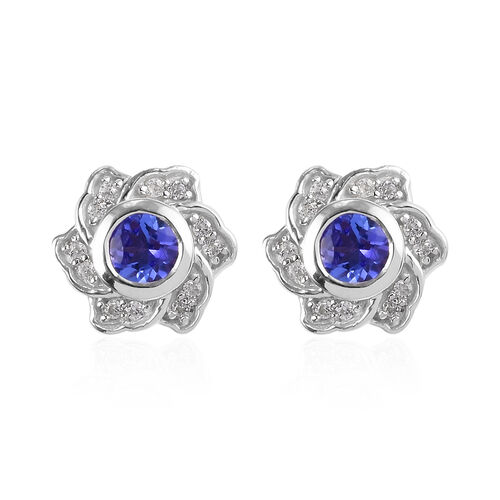 Tanzanite and Natural Cambodian Zircon Floral Earrings (with Push Back) in Platinum Overlay Sterling