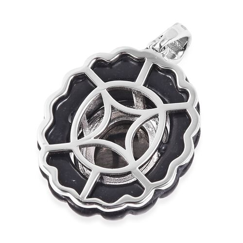 Elite Shungite (Ovl), Black Jade Pendant in Rhodium Overlay Sterling Silver 18.75 Ct.