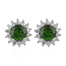 9K White Gold AA Russian Diopside (Rnd), Natural Cambodian White Zircon Stud Earrings (with Push Bac