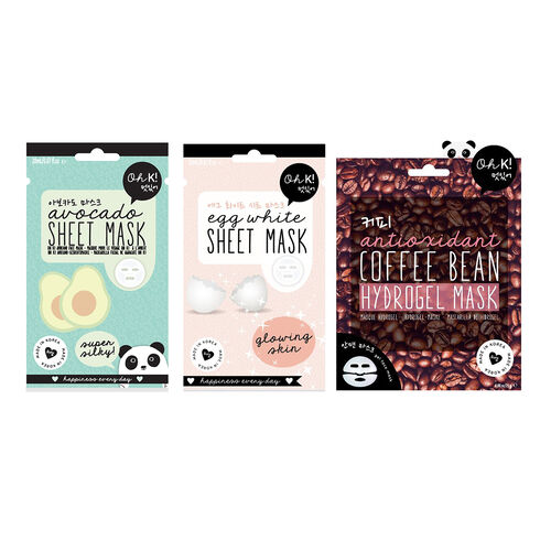 OH K - Coffee Bean Hydrogel Mask 25G, Egg white Sheet Mask & Avocado Sheet Mask 20ml