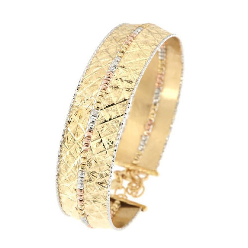 Diamond Cut Cuff Bangle in 9K Yellow White and Rose Gold 11 Grams 7 with 1.5 inch Extender