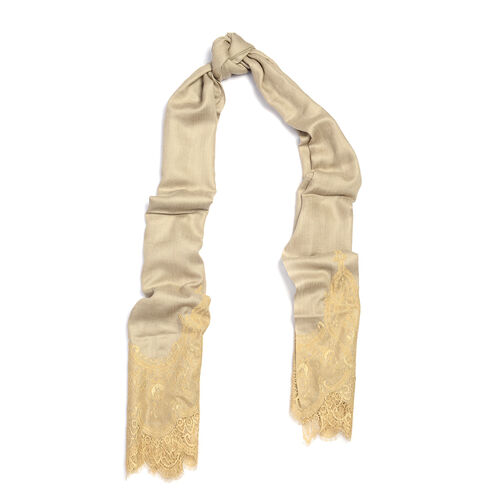 Designer Inspired- Luxury Lace Cashmere Wool and Mulberry Silk Scarf - Beige (Size 200X70 Cm)