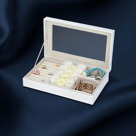Shimmering Jewellery Box (25.4x5x15.2cm) with Matching Soap Flowers (12 Pcs) - White