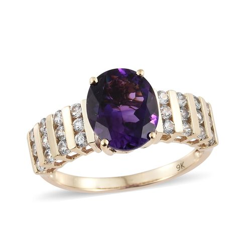 Limited Edition- 9K Yellow Gold AAA Moroccan Amethyst (Rare Size Ovl 11x9 mm 3.50 Ct), Natural Cambodian Zircon Ring 4.500 Ct.