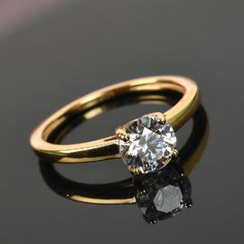 J Francis 14K Gold Overlay Sterling Silver Solitaire Ring Made with SWAROVSKI ZIRCONIA 1.64 Ct.