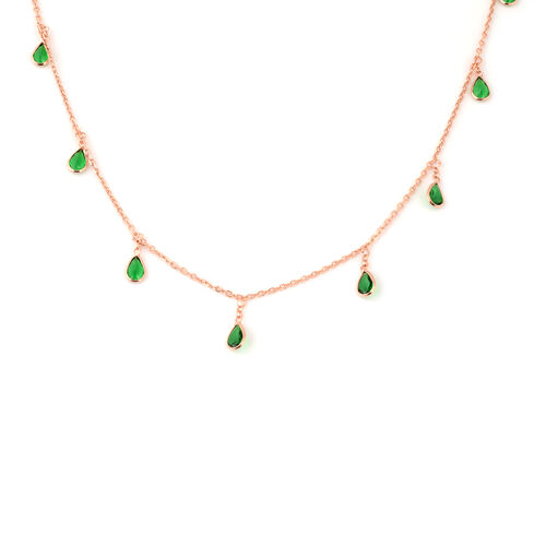 ELANZA Simulated Diopside Necklace (Size 18 with 2 inch Extender) in Rose Gold Overlay Sterling Silv