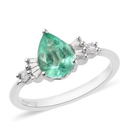 RHAPSODY 950 Platinum AAAA Boyaca Colombian Emerald and Diamond (VS/E-F) Ring 1.71 Ct, Platinum wt 5