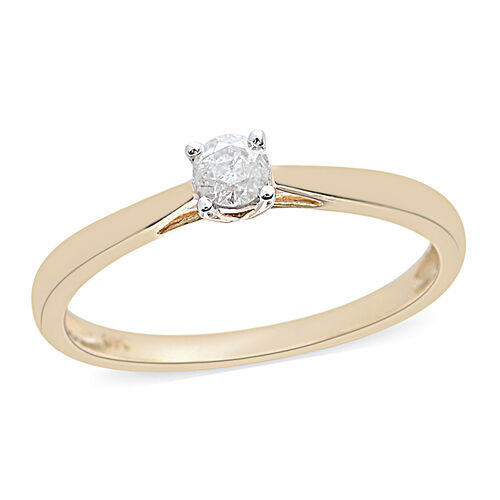 9K Yellow Gold SGL Certified Diamond (Rnd) (I3/G-H) Solitaire Ring 0.250 Ct.