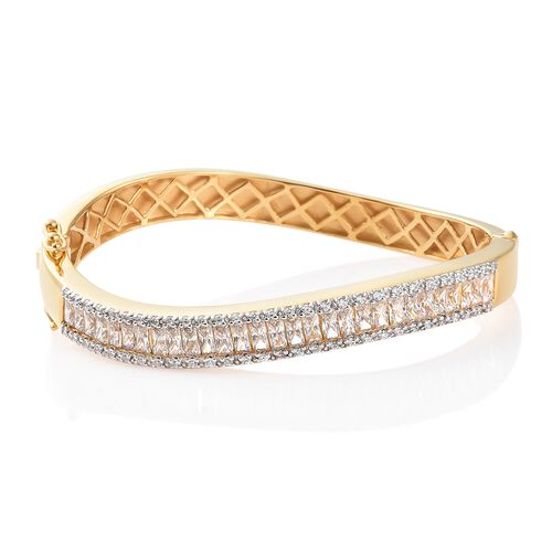 J Francis - 14K Gold Overlay Sterling Silver (Bgt and Rnd) Bangle (Size - 7.75) Made with SWAROVSKI ZIRCONIA, Silver wt 30.36 Gms.