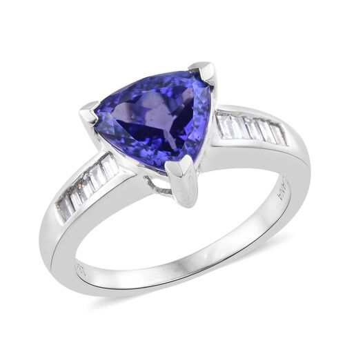 ILIANA 18K White Gold 2.75 Ct AAA Tanzanite, Diamond (SI/G-H) Ring