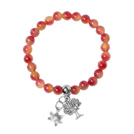 Cherry Quartzite (Rnd), Bracelet (Size 7.5 Strechable) with Multi Charm in Silver Tone