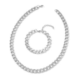 2 Piece Set - Stainless Steel Curb Chain Necklace (Size 22) and  Bracelet (Size 8.50 with 2 inch Ext