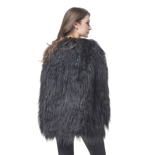 Close Out Designer Inspired Black Colour Faux Fur Jacket (Size 75X53 Cm)