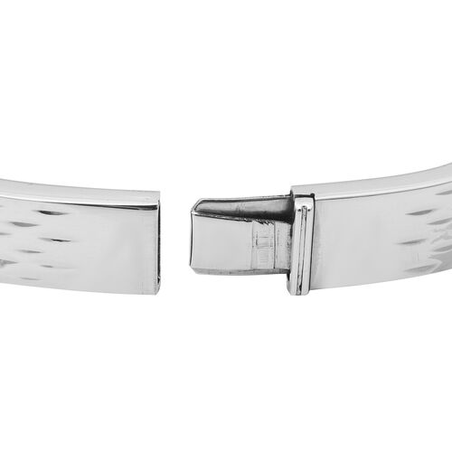 Thai Sterling Silver Sterling Silver Diamond Cut Bangle (Size 7.5), Silver wt 25.20 Gms