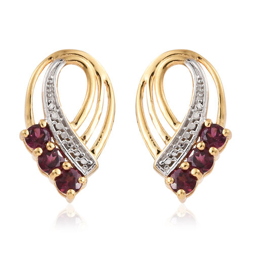 Rhodolite Garnet (Rnd) Earrings (With Push Back) in 14K Gold Overlay Sterling Silver 1.000 Ct.