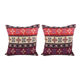 Set of 2 - Turkish Kilim Pattern Cushion Covers - Red and Multi