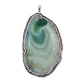 Green Agate and Austrian Crystal Pendant in Rhodium Overlay Sterling Silver 150.00 Ct.