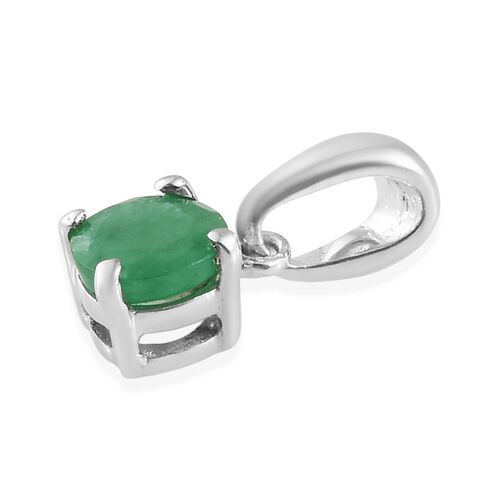 Kagem Zambian Emerald (Rnd) Solitaire Pendant and Stud Earrings (with Push Back) in Platinum Overlay Sterling Silver 0.75 Ct