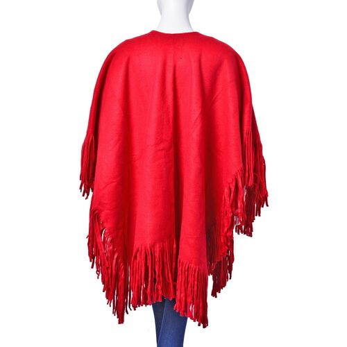 Red Colour Double Sided Ruana with Tassels (Size 100x70 Cm)