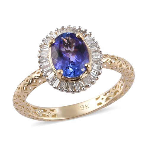 1.50 Ct Tanzanite and Natural Diamond Halo Ring in 9K Gold