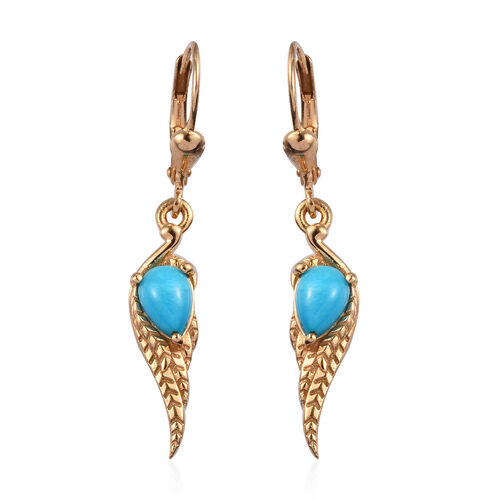 Arizona Sleeping Beauty Turquoise Lever Back Earrings in 14K Gold Overlay Sterling Silver 1.50 Ct.