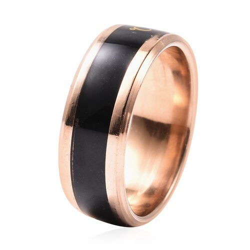 Celsius Temperature Band Ring in Black and Rose Gold Tone