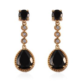 5.25 Ct Elite Shungite and Zircon Drop Earrings in 14K Gold Plated Sterling Silver 5.50 Grams