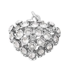 J Francis - Crystal from Swarovski White Crystal (Rnd) Heart Pendant in Silver Plated