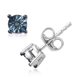 Teal Blue Diamond (Rnd) Stud Earrings (with Push Back) in Platinum and Blue Overlay Sterling Silver