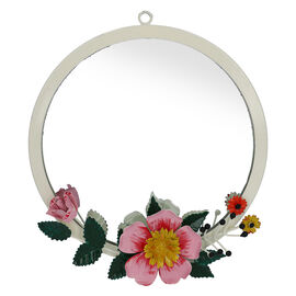 Handmade and Handpainted Floral-Design Wall Mirror (25x25cm)