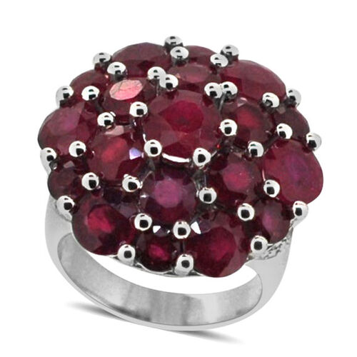 African Ruby (Rnd 1.90 Ct), White Topaz Cluster Ring in Rhodium Plated Sterling Silver 16.250 Ct.