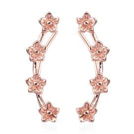 Rose Gold Overlay Sterling Silver Flower Climber Earrings