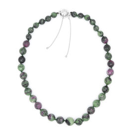 Collectors Edition- Extremely Rare 100% Natural Ruby Zoisite (10mm to 16mm) Necklace (Size 24) with