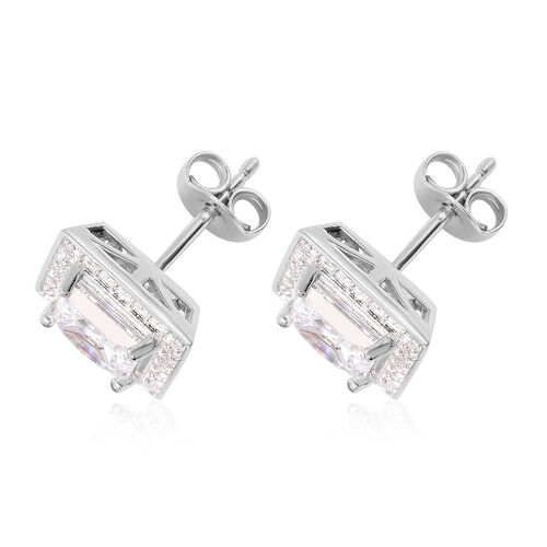 J Francis - Rhodium Overlay Sterling Silver Stud Earrings (with Push Back) Made with SWAROVSKI ZIRCONIA 2.86 Ct.