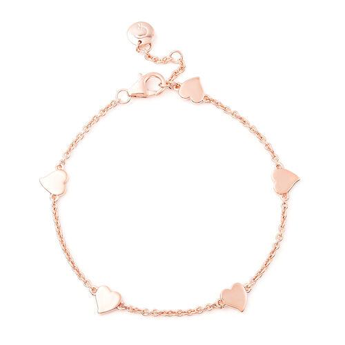 RACHEL GALLEY Heart Collection - Rose Gold Overlay Sterling Silver Heart Station Adjustable Bracelet
