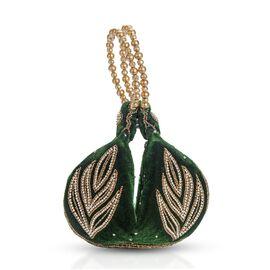 Weaved Embellishment Velvet Fortune cookie bag (Size 16.51x24.13 Cm) - Dark Green