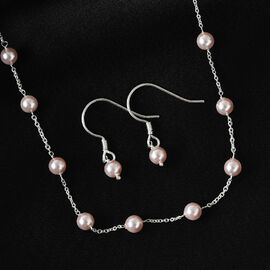 J Francis 2 Piece Set Crystal from Swarovski Rosaline Pearl Crystal Necklace (Size 18) and Hook Earrings in Sterling Silver
