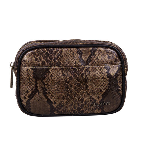 Bulaggi Collection Protea Snake Skin Print Crossbody Bag - Camel