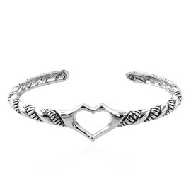 Royal Bali Collection Sterling Silver Twisted Rope Cuff Bangle (Size 7.5), Silver wt 21.49 Gms