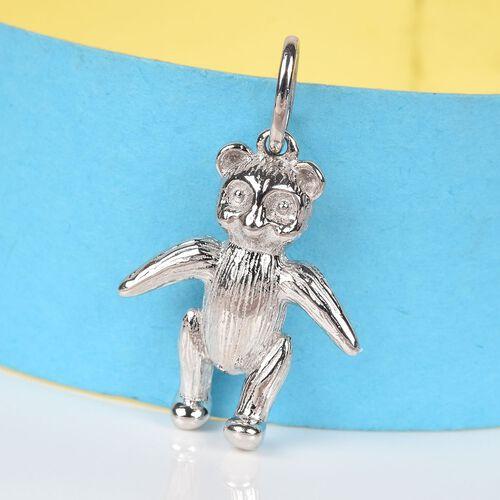 Teddy Bear Silver Charm Pendant in Platinum Overlay, Silver wt 4.84 Gms.