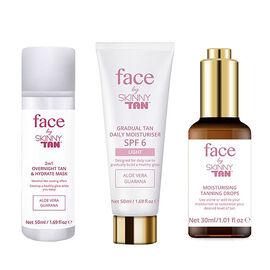 Skinny Tan Face: Tanning Drops- 30 ml, Overnight Mask- 50 ml & Gradual Tan- 50 ml SPF6 Light featuring Aloe Vera and Guarana