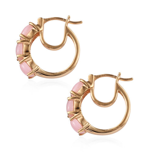 Peruvian Pink Opal (Ovl) Hoop Earrings (with Clasp Lock) in 14K Gold Overlay Sterling Silver 2.250 Ct.