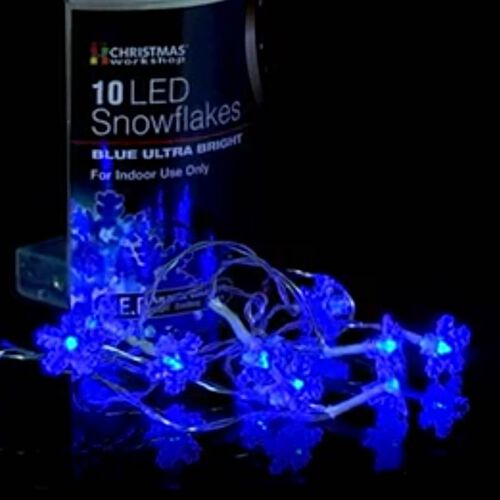 10 Blue Snowflake LED Battery Operated Lights (2xAA Battery not Included)