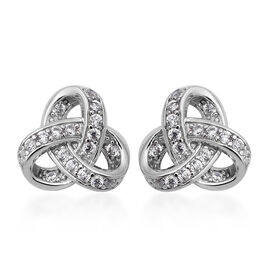 ELANZA Simulated Diamond  Knot Stud Earrings (with Push Back) in Rhodium Overlay Sterling Silver