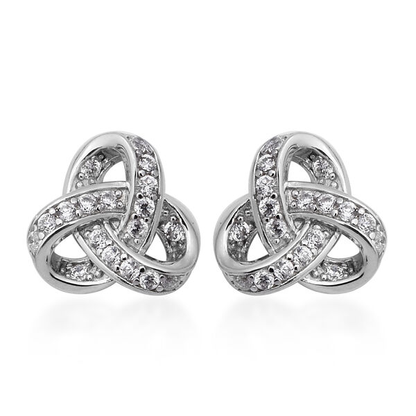 ELANZA Simulated Diamond Triple Knot Stud Earrings in Rhodium Plated Silver