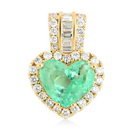 18K Yellow Gold  Colombian Emerald, White Diamond Pendant 3.50 ct,  Gold Wt. 2.55 Gms  3.502  Ct.