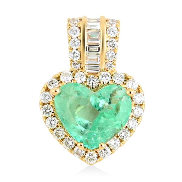 Web Exclusive ILIANA 18K Yellow Gold Colombian Emerald and Diamond Pendant 3.50 Ct.