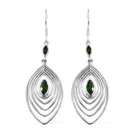 1.62 Ct Russian Diopside Drop Hook Earrings in Sterling Silver 5.99 Grams