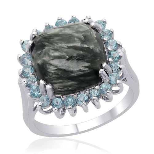 Siberian Seraphinite (Cush 5.00 Ct), Paraibe Apatite Ring in Platinum Overlay Sterling Silver 5.750 Ct.