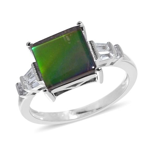AA Canadian Ammolite (Sqr 10mm), White Topaz Ring in Rhodium Overlay Sterling Silver.